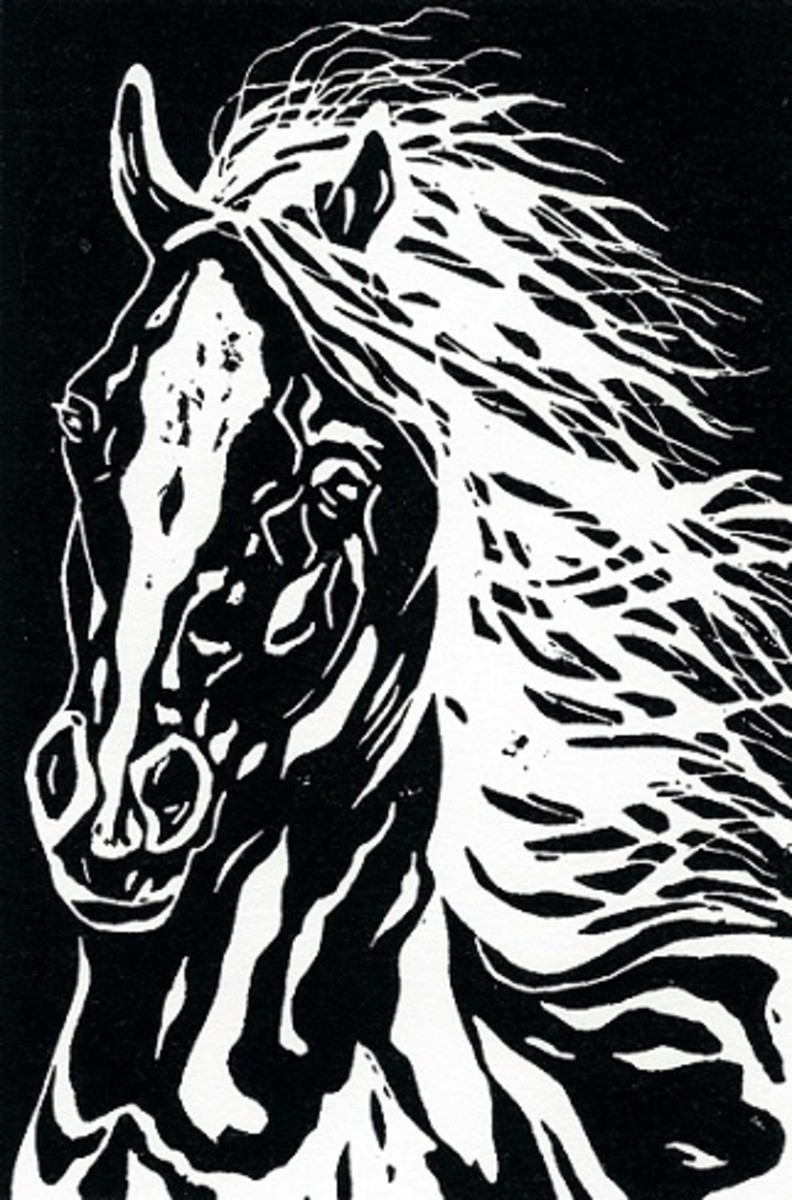 """His Majesty"" linocut by Peggy Woods"