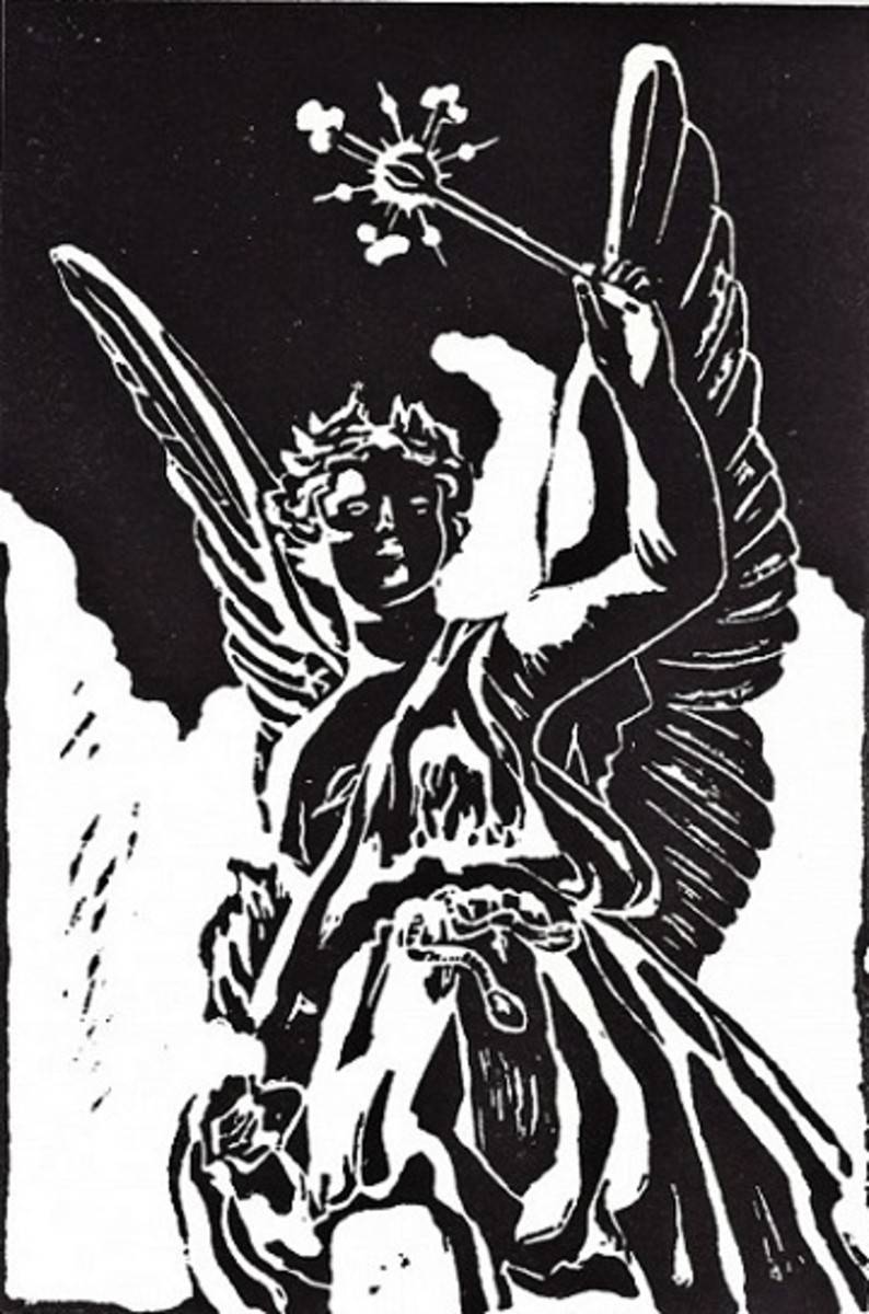 Linocut of Angel created by Peggy Woods