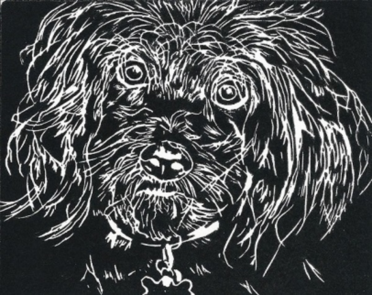 Untitled linocut by Peggy Woods - Documentation sheet reads Hooray for Animal Shelters!