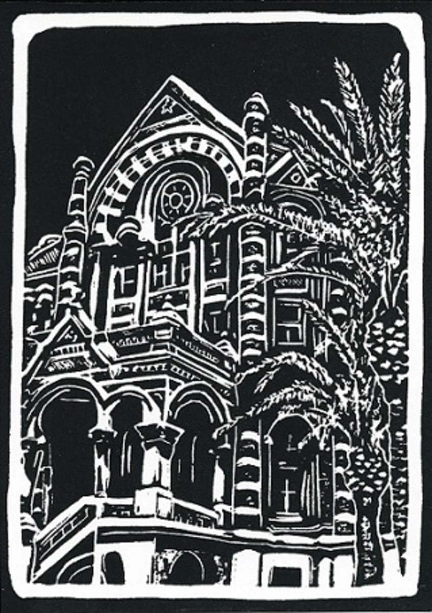 """Linocut of """"Old Red"""" in Galveston, Texas created by Peggy Woods"""