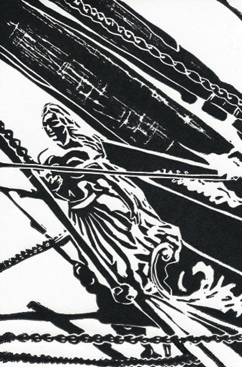 Linocut of Elissa's Figurehead in Galveston, Texas created by Peggy Woods