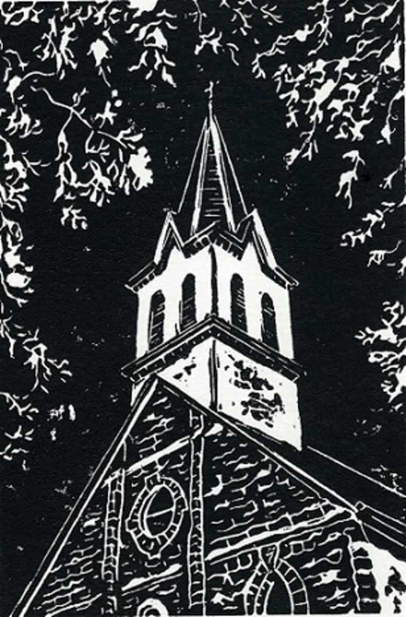 Linocut titled Praha Prayers by Peggy Woods - One of the Painted Churches near Schulenburg, Texas