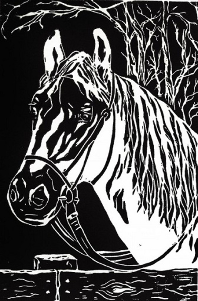 """Linocut titled """"Ben"""" created by Peggy Woods"""