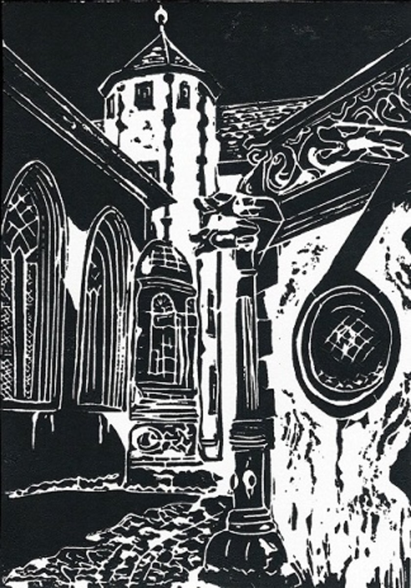Linocut titled Fortress Marienberg Passageway from Wurzburg, Germany created by Peggy Woods
