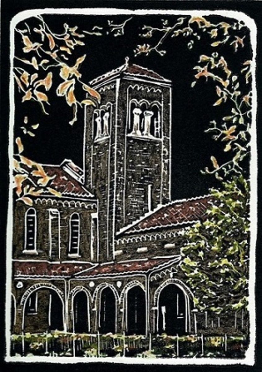 Untitled Linocut Hand Colored (St. Matthew Lutheran Church in Houston, Texas) by Peggy Woods