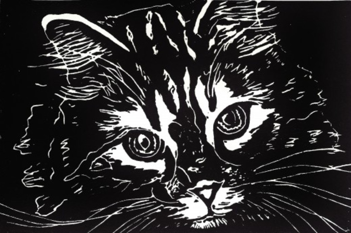 Untitled cat face linocut by Peggy Woods