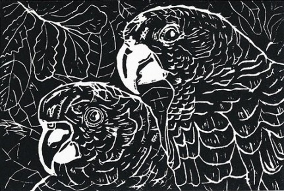 """Birds of a feather..."" linocut by Peggy Woods"