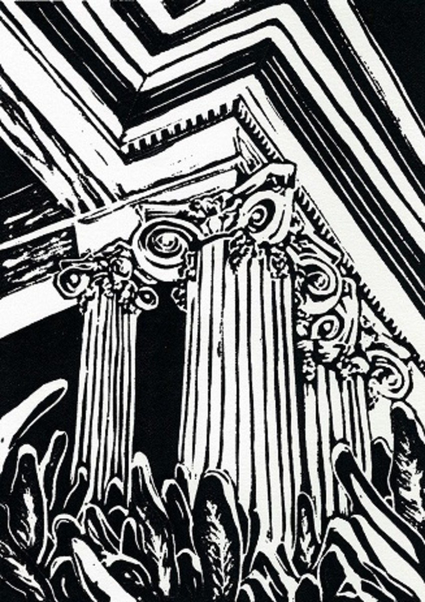 Linocut titled Classically Adorned created by Peggy Woods