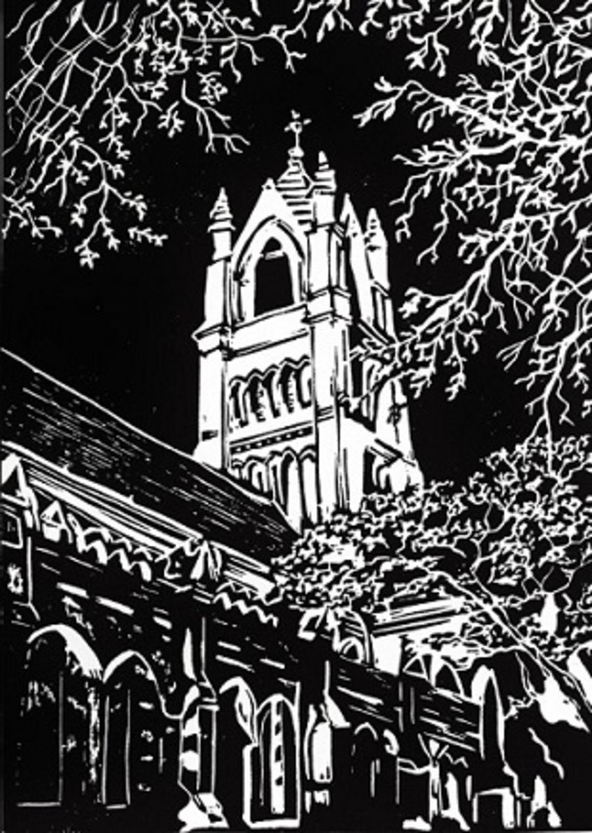 Linocut of St. Patrick Church in Galveston, Texas created by Peggy Woods