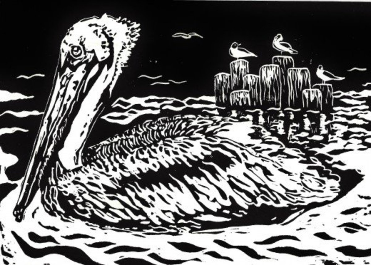 """Seaside Serenity"" linocut by Peggy Woods"