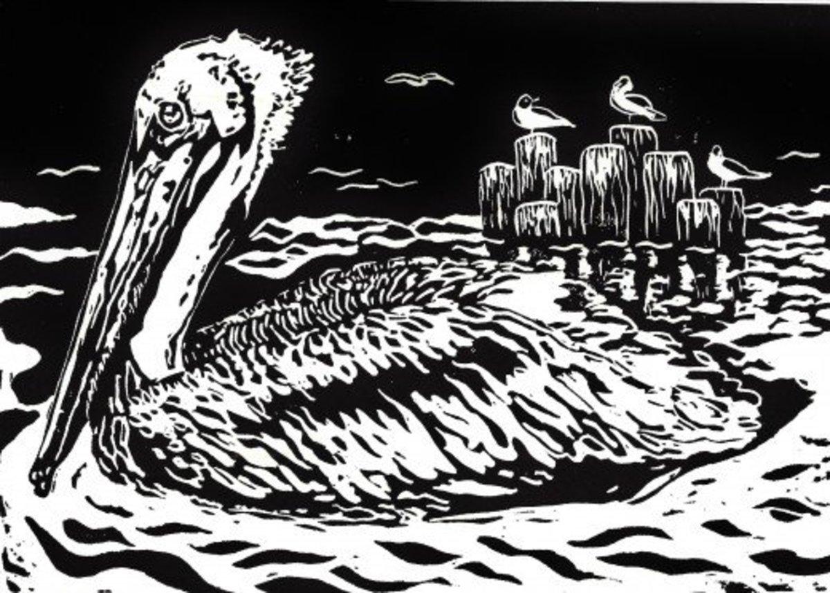 """""""Seaside Serenity"""" linocut by Peggy Woods"""