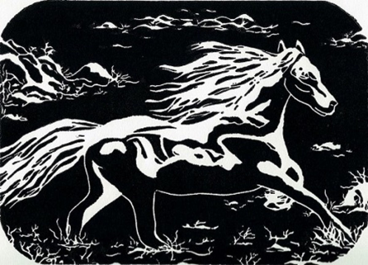 """Running Free"" linocut by Peggy Woods"