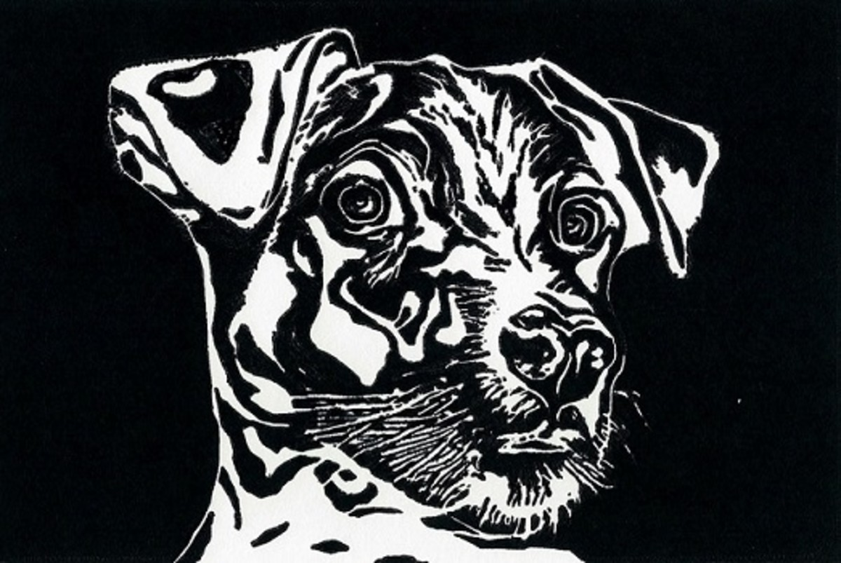 "Linocut titled ""J.R."" by Peggy Woods"