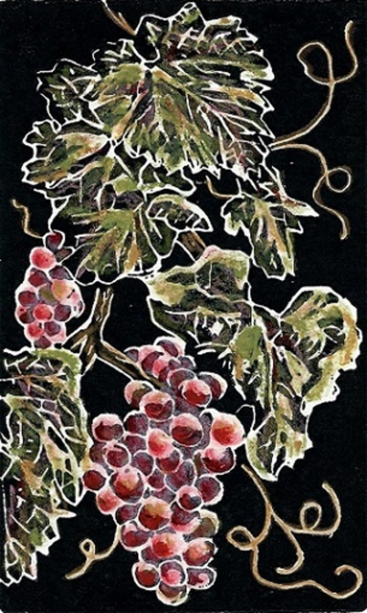 Hand colored linocut of Grapes created by Peggy Woods