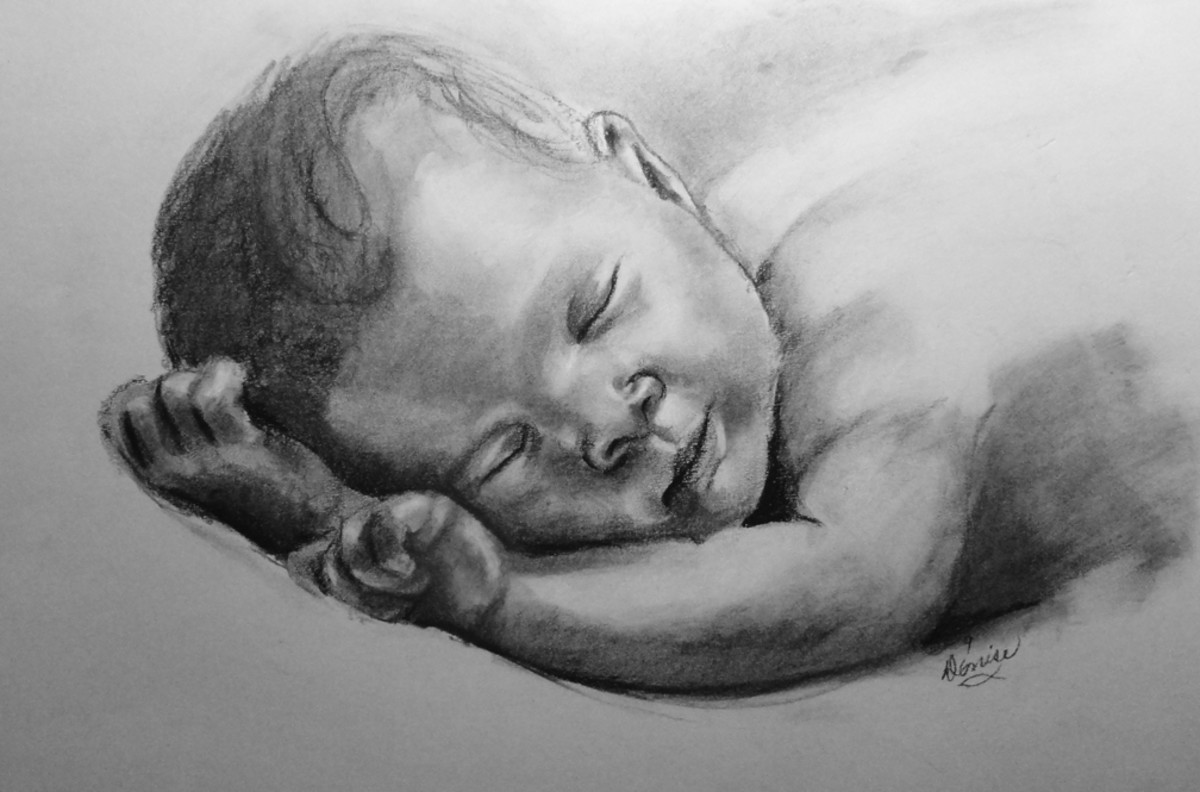 Baby in charcoal.