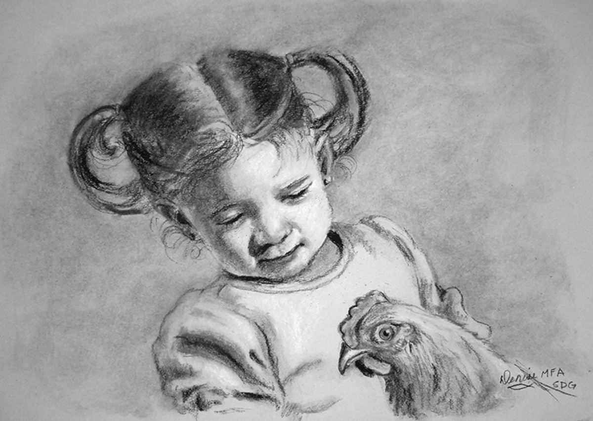 Portrait of my granddaughter and her chicken.