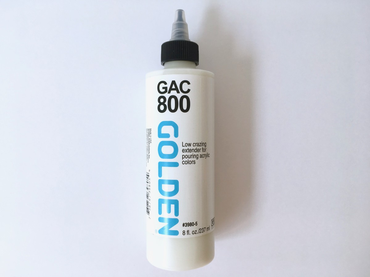 Golden GAC 800 is an acrylic polymer medium that can be mixed with acrylic paints for pouring.