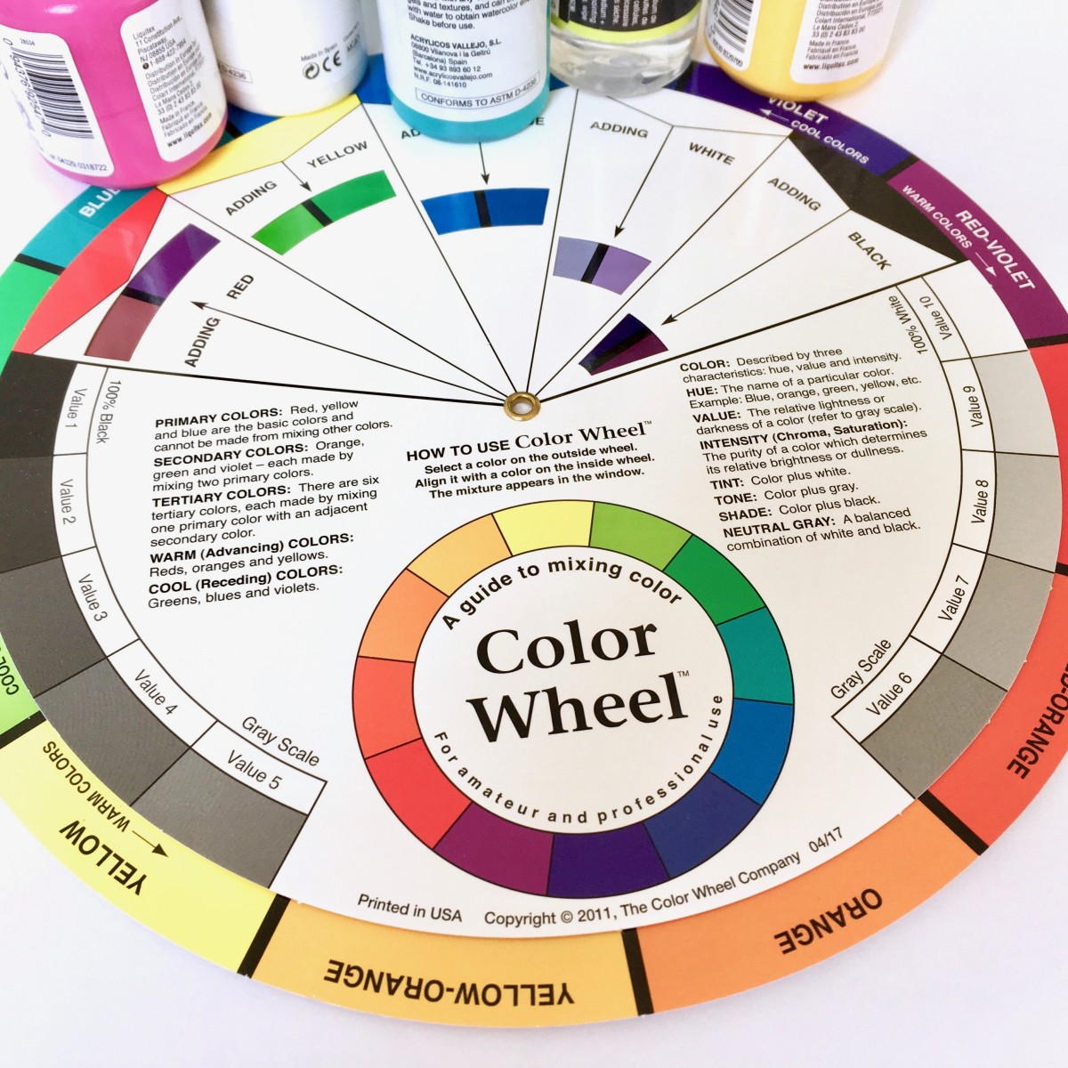 Use a color wheel to find interesting color combinations for your paintings.