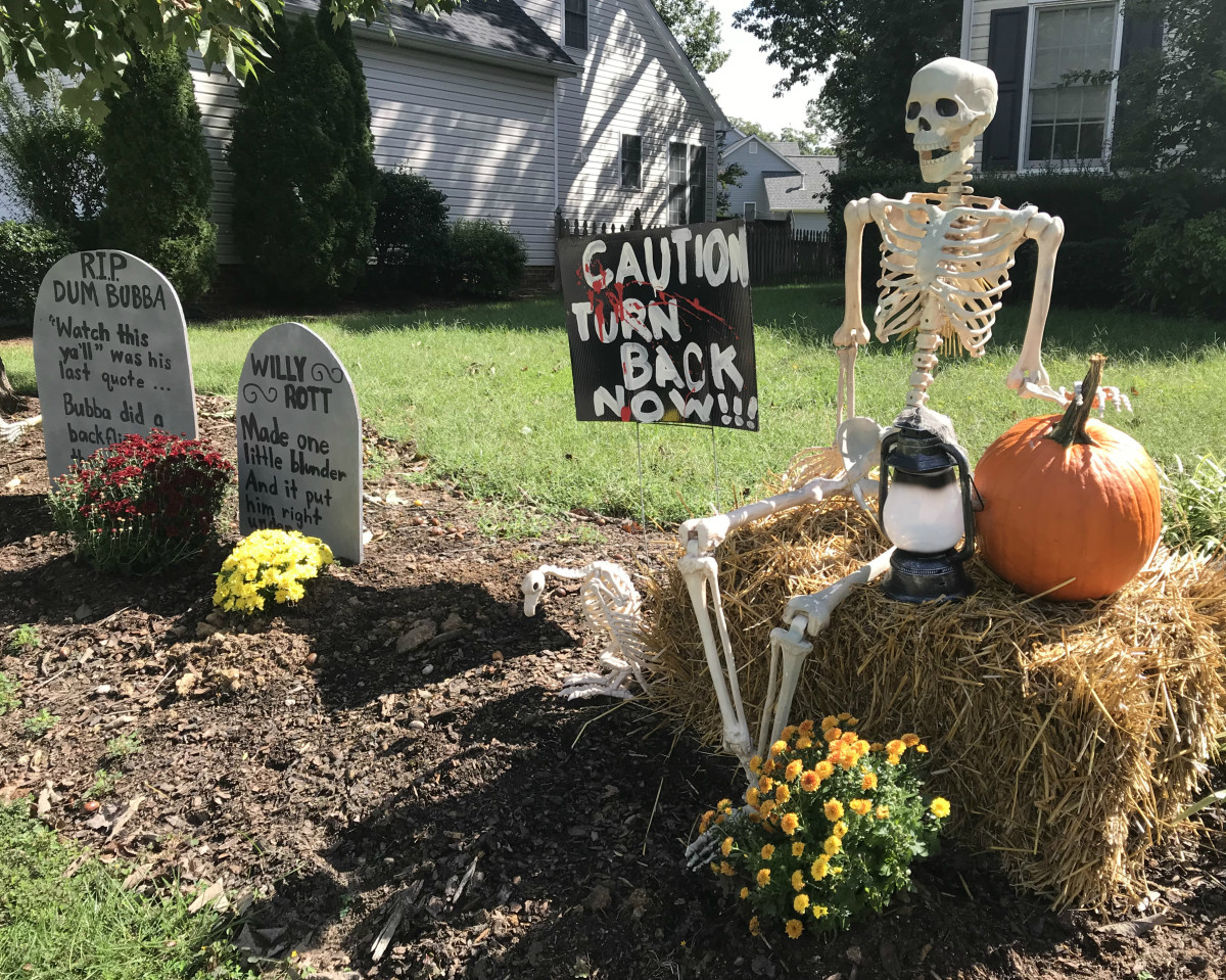 Use your creativity in setting up graveyard scene.  Mine varies from year to year.