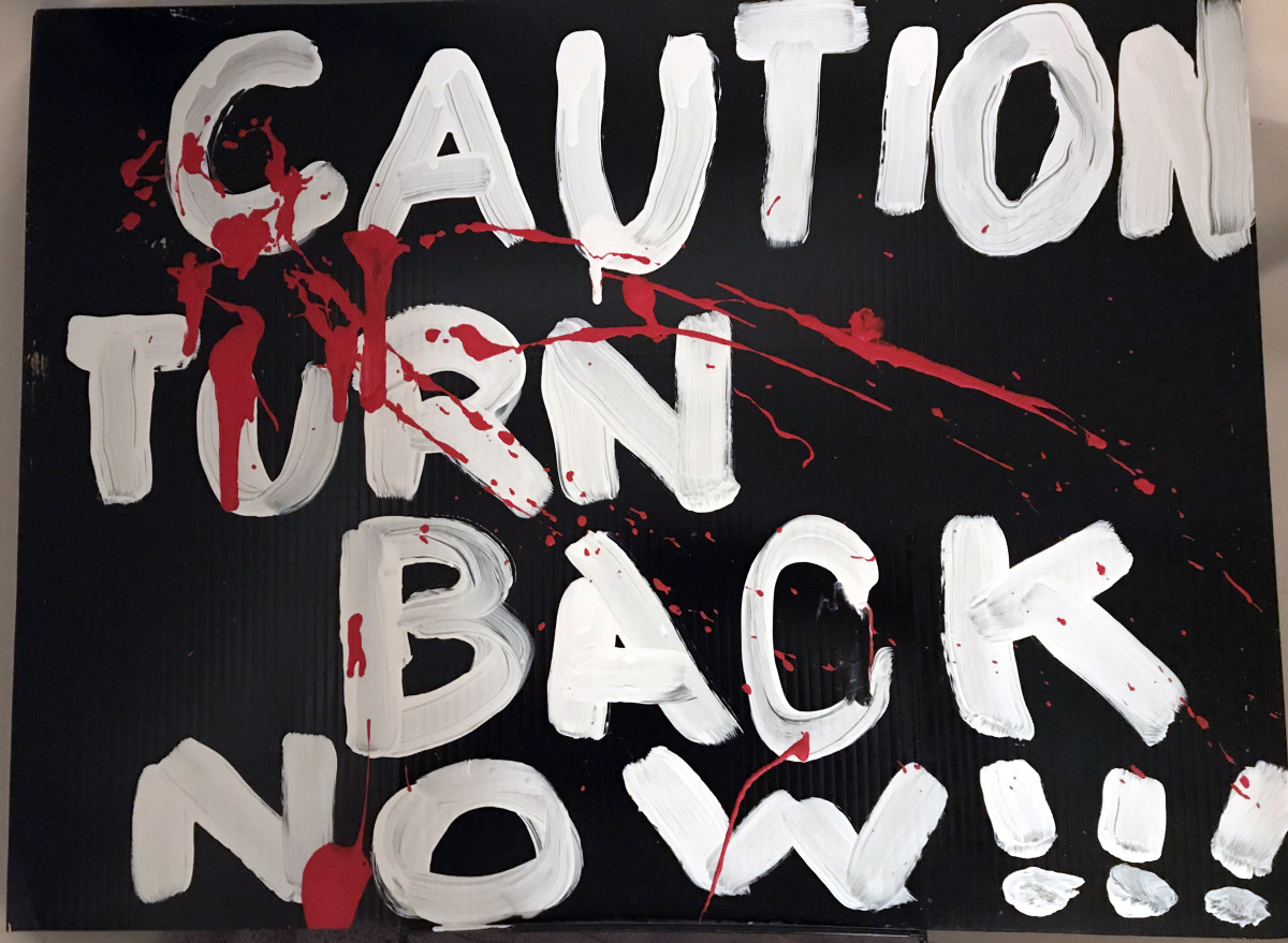 CAUTION:  TURN BACK NOW!!!  I recycled a corrugated plastic yard sign with inexpensive metal stakes by painting it.