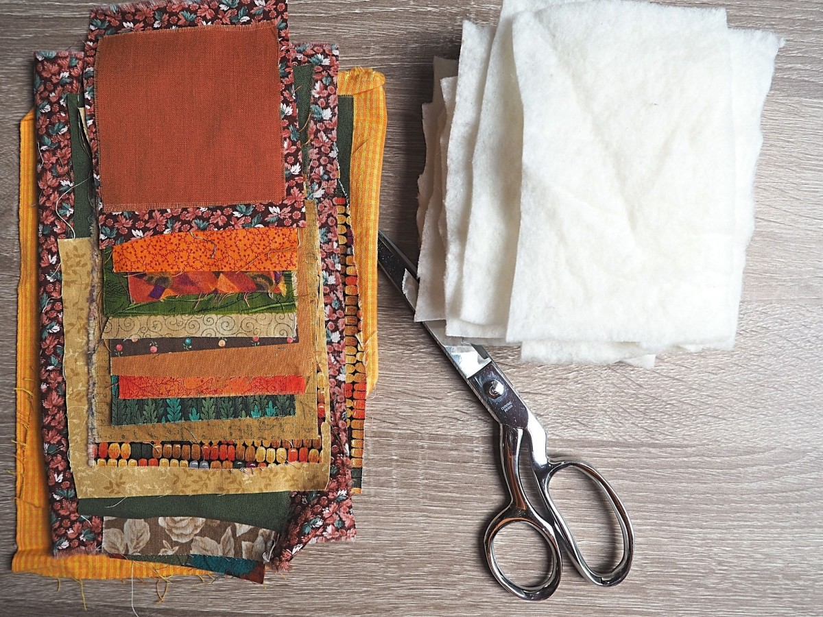 Gather fall fabric scraps for this project.