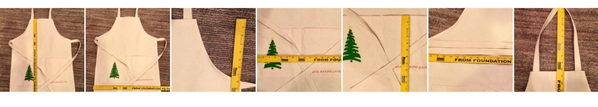 Enlarge photos to see all the measurements at once. You could use an existing apron or shirt as a guide to the size instead of measuring.