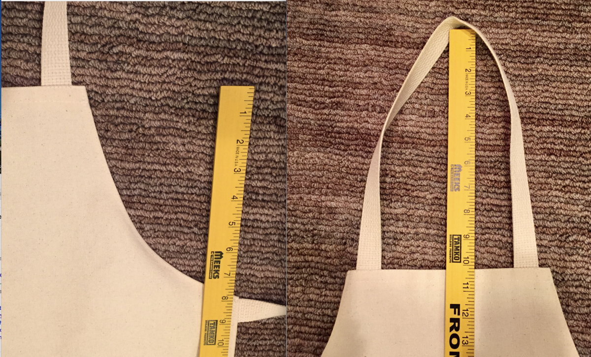 """This """"arm curve"""" is placed 8"""" down from the top of the bib with the neck loop having a 10"""" drop. Cut your neck loop length about 22"""" to leave room to sew.  My side ties are 27"""" long."""