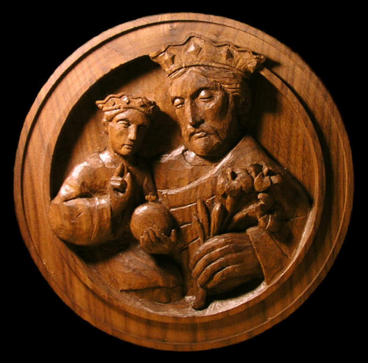 St. Joseph and Christ Child, American black walnut