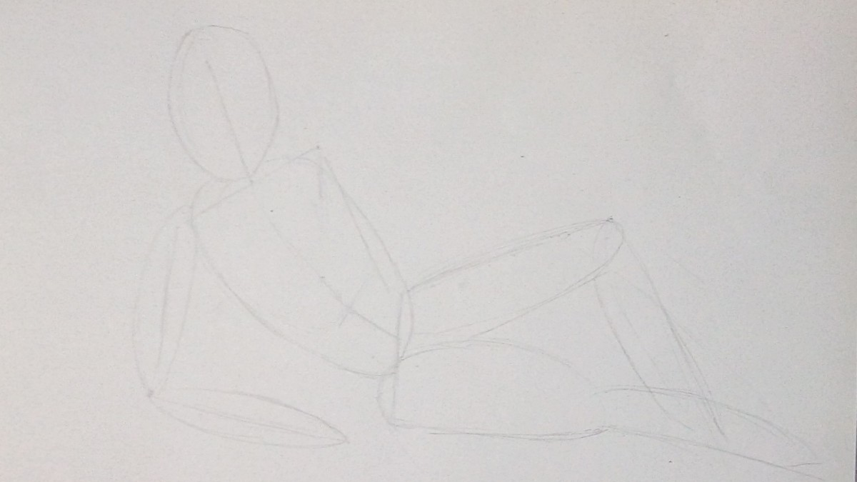 Basic pose using the sausages and eggs method.