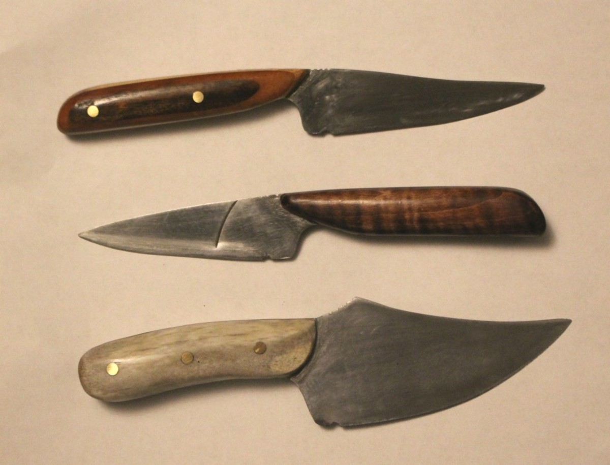 Three knives that I've made from old table saw blades. It's fun to experiment with different shaped blades.
