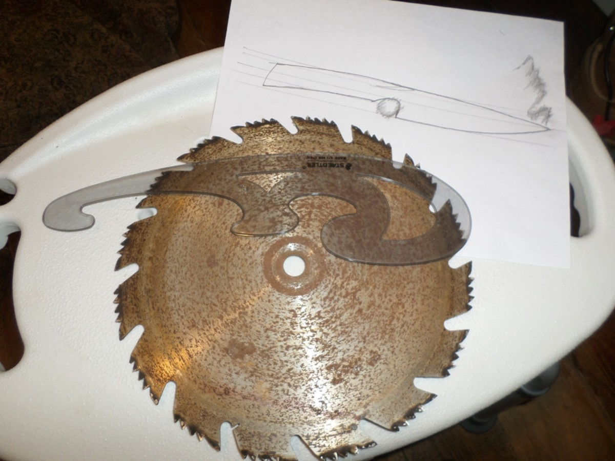 Saw blade with the template and design tools I used.