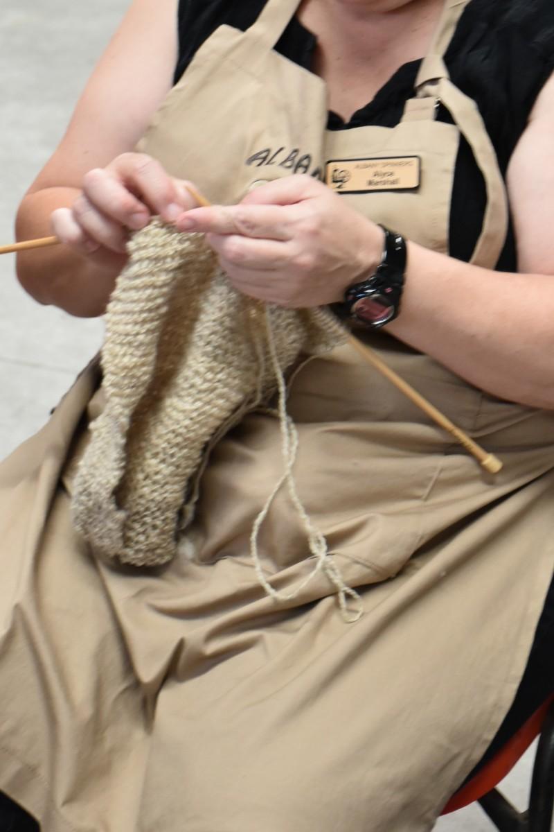 Knitting in progress.