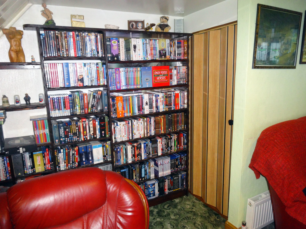 The two new shelves used to accommodate the DVD and Blu-ray discs overflow.