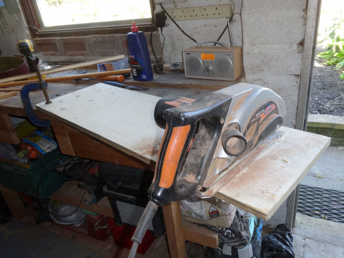 Plywood cut to the required length with circular saw.