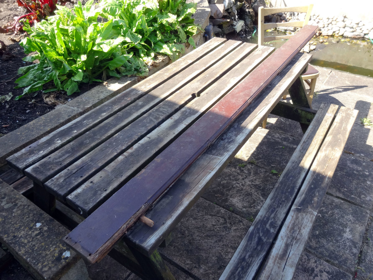 Salvaged mahogany ready for recycling.