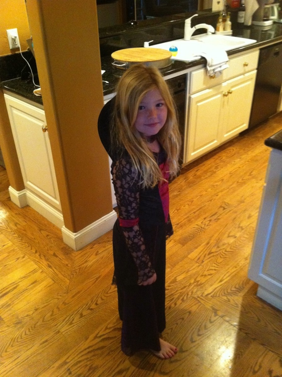 An eight-year-old still enjoys dress-up clothes
