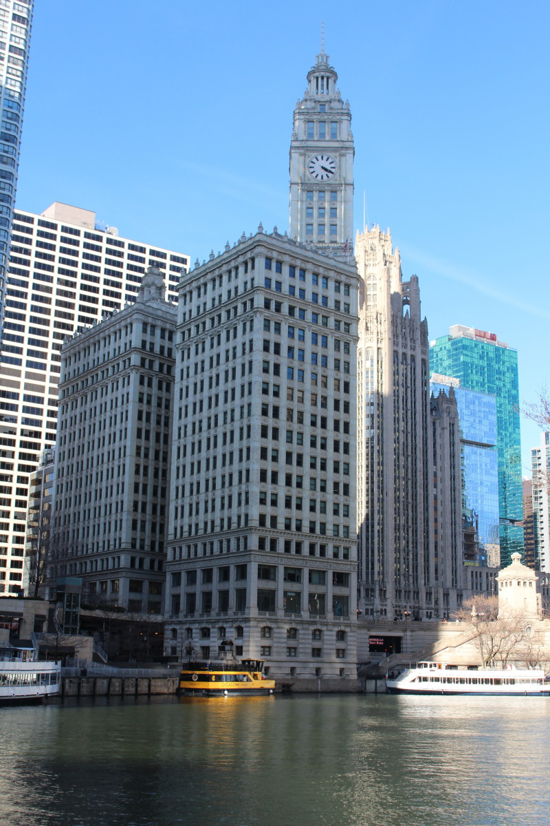 The Wrigley Building as seen from Chicago's River Walk. Picture taken in March 2020.