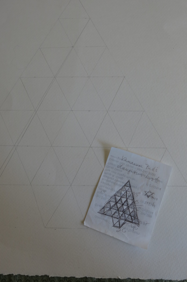 Sketch of Patchwork Tree Being Transferred Onto Backing Paper