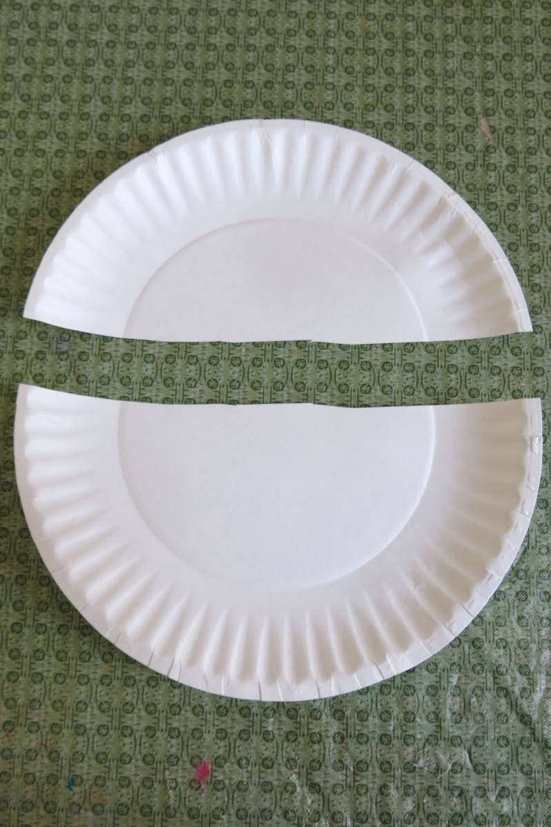 Cut your paper plate in half to start to make your Easter bunny figure.