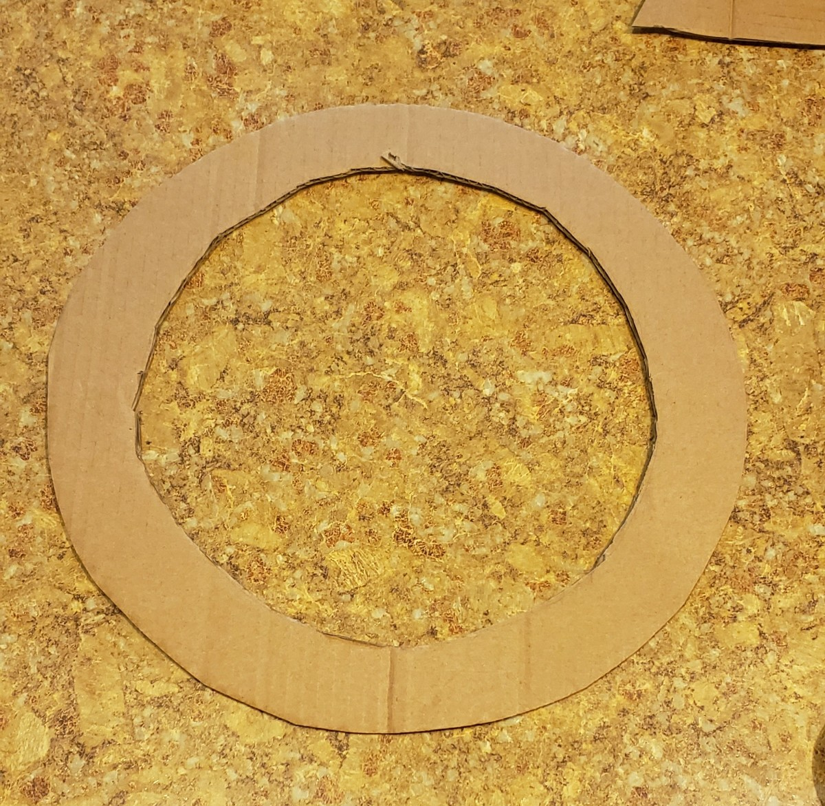 Cut a smaller circle in the center leaving 1 1/2 to 2 inches of cardboard around your circle.