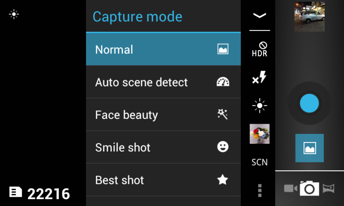 Still shot camera controls and options