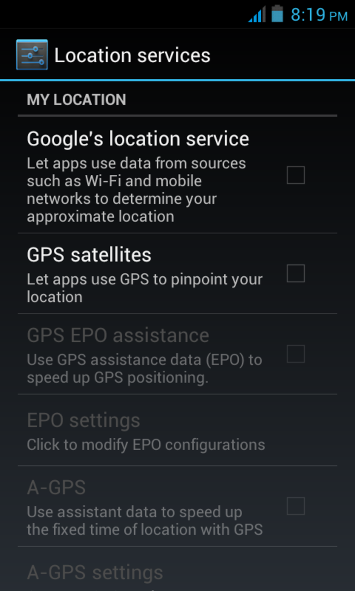 GPS settings