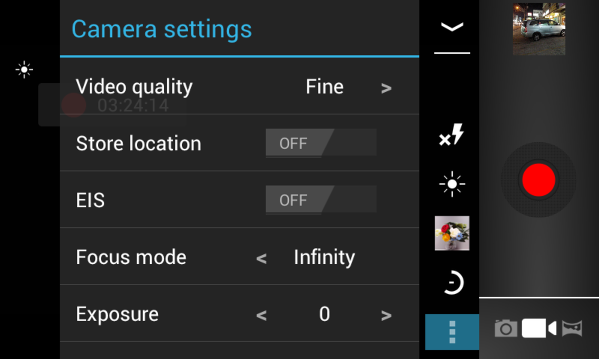 Video recording controls and options