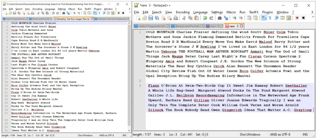 Author/Title data from books (left) in left-right order, and concatenated for entry into metadata (right).