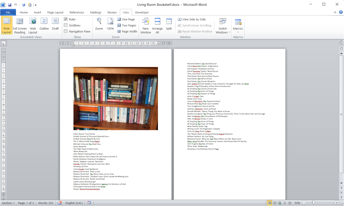 Word document combining bookshelf image and list of author/titles