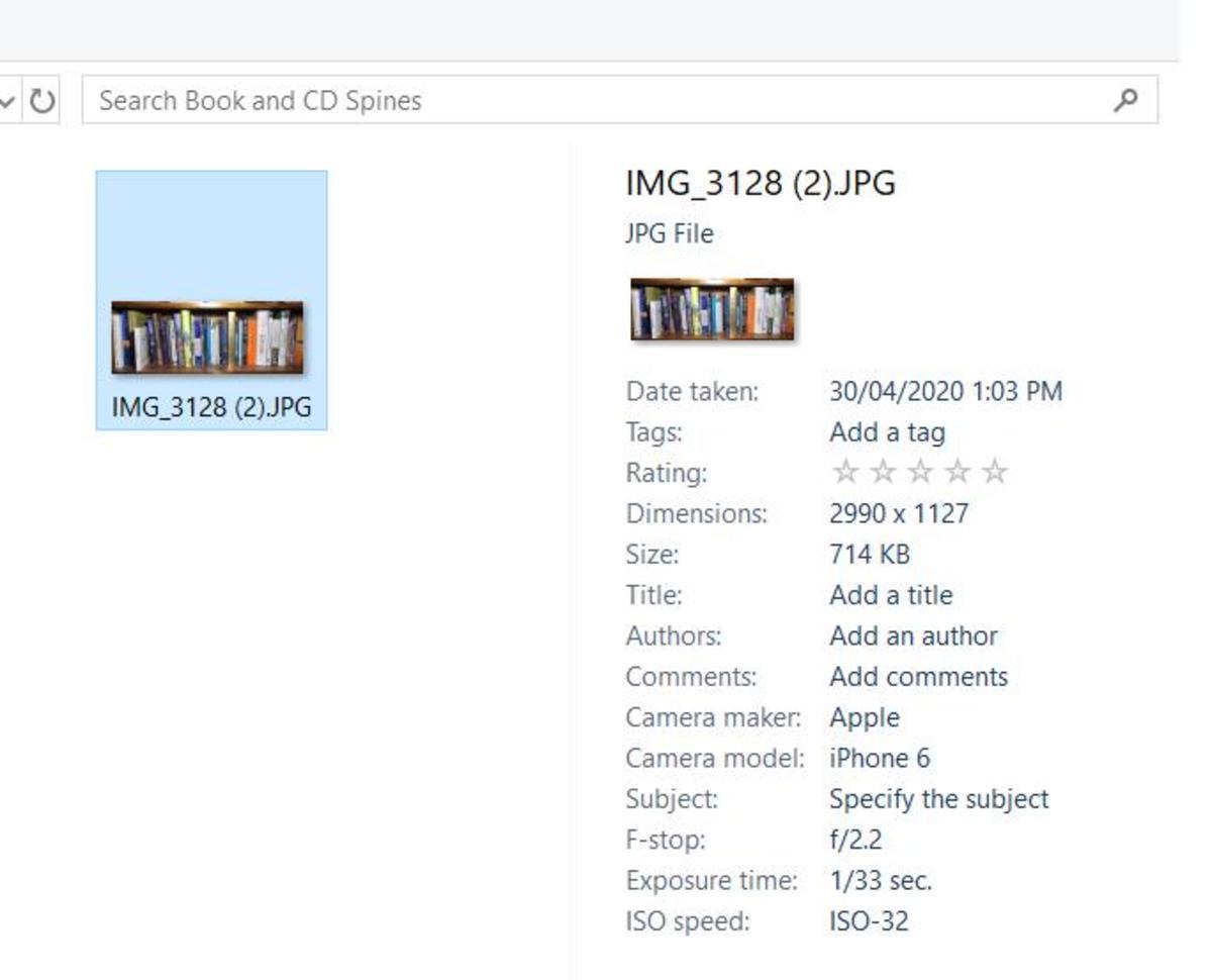 JPEG file metadata display in Windows 10