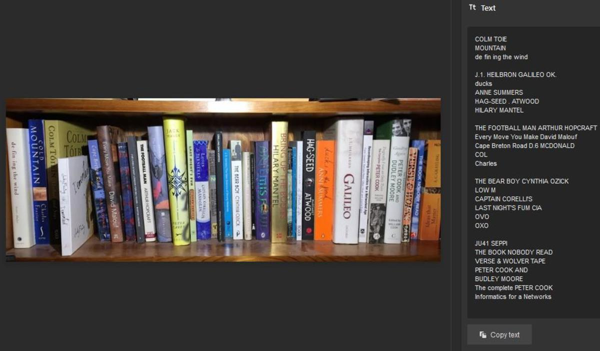 Bookshelf image and text extracted from it