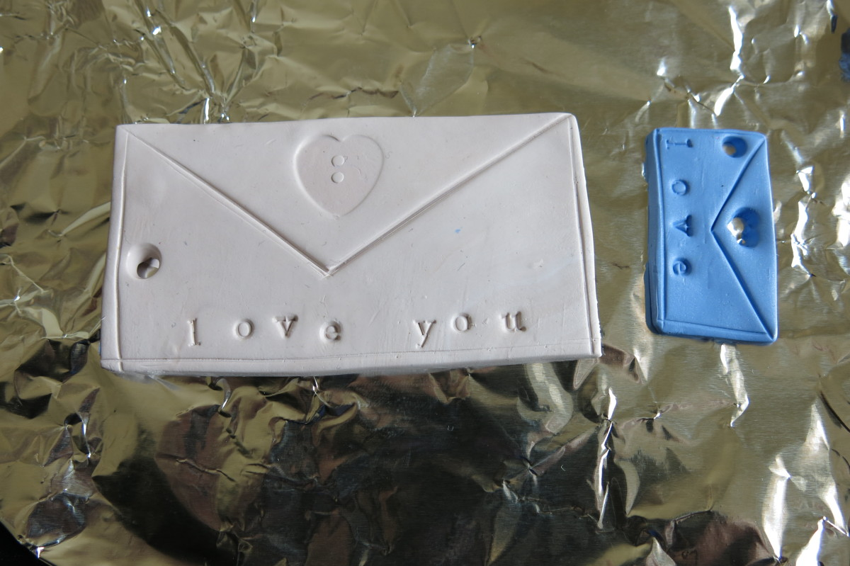 "Baking my polymer clay ""love letter"" pendant and key chain"