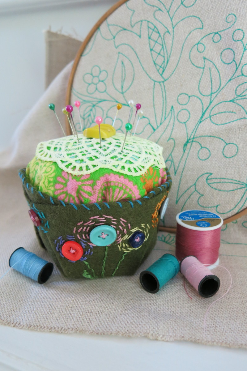 This pretty pincushion is easy to make with some basic sewing skills and materials.