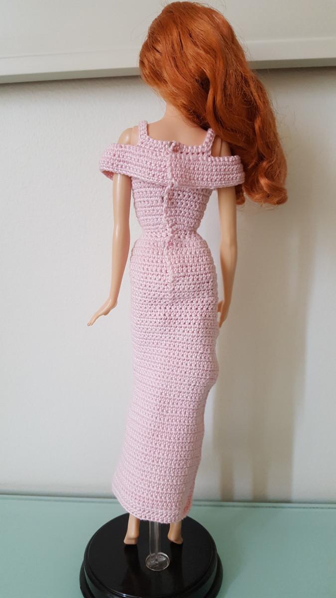 Barbie Flounce Open-Shoulder High Slit Dress